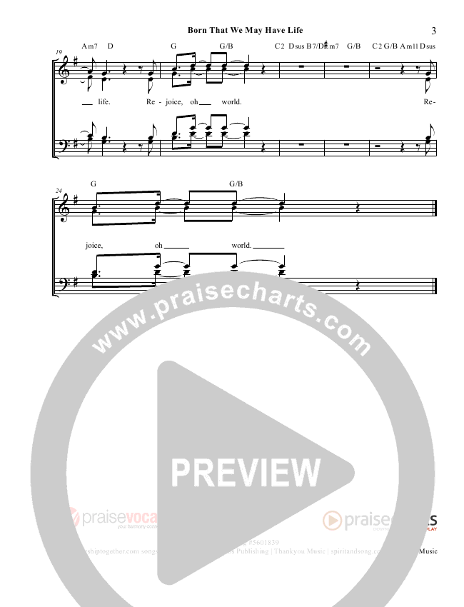 Born That We May Have Life Lead Sheet (PraiseVocals)