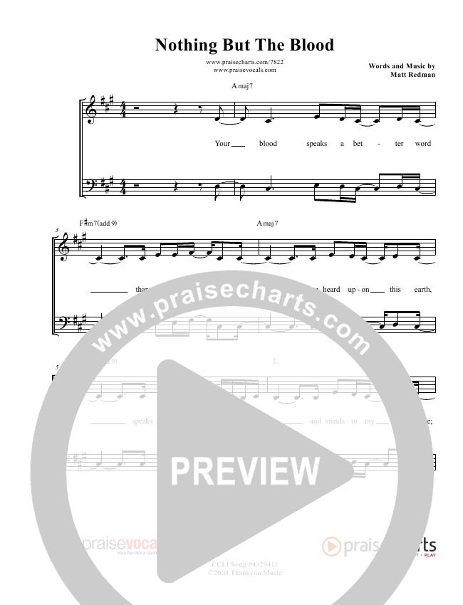 Nothing But The Blood Lead Sheet (PraiseVocals)