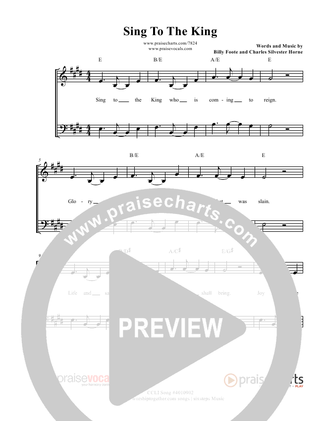Sing To The King Lead Sheet (PraiseVocals)