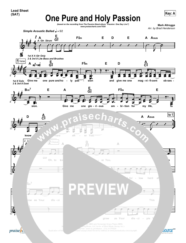 One Pure And Holy Passion Lead Sheet (SAT) (Candi Pearson Shelton / Passion)