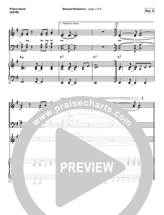 Blessed Redeemer Piano/Vocal (SATB) (Casting Crowns)