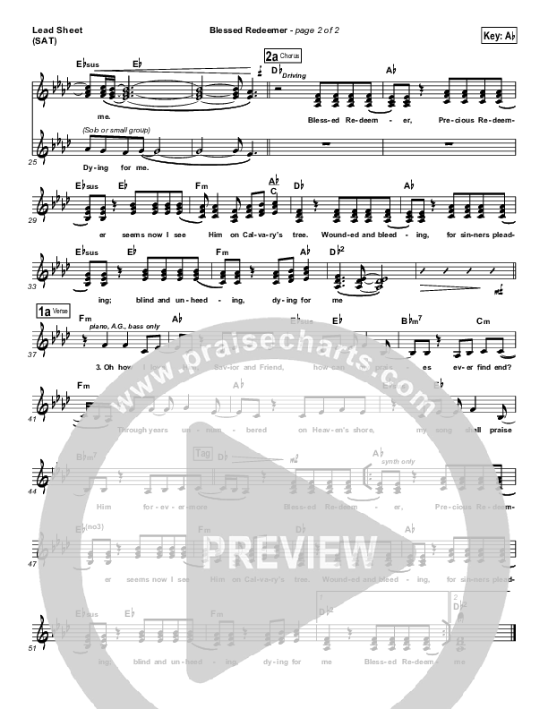 Blessed Redeemer Lead Sheet (SAT) (Casting Crowns)