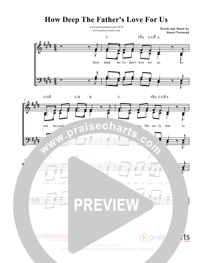 How Deep The Father's Love For Us Lead Sheet (PraiseVocals)