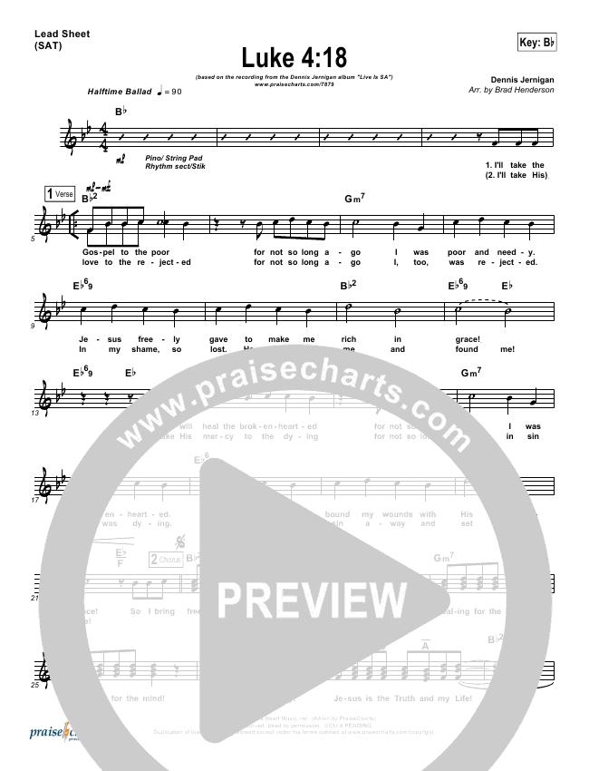 Luke 4:18 Lead Sheet (Dennis Jernigan)
