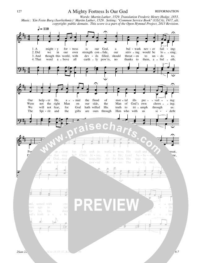 A Mighty Fortress Is Our God Hymn Sheet (SATB) (Traditional Hymn)