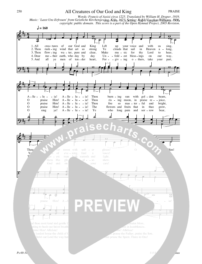 All Creatures Of Our God And King Hymn Sheet (SATB) (Traditional Hymn)