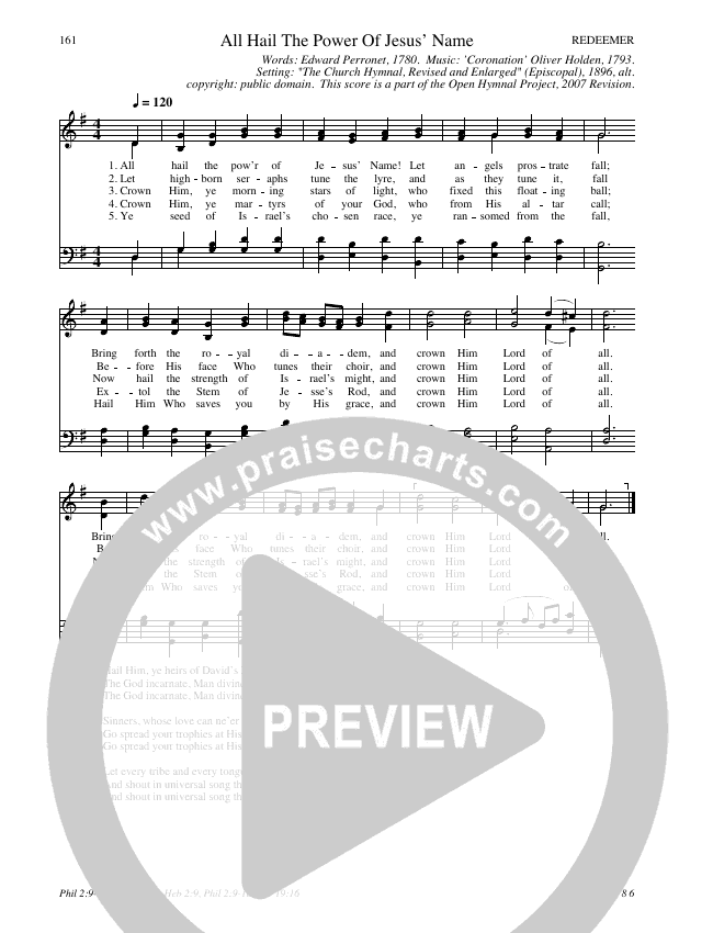 All Hail The Power Of Jesus Name Hymn Sheet (SATB) (Traditional Hymn)