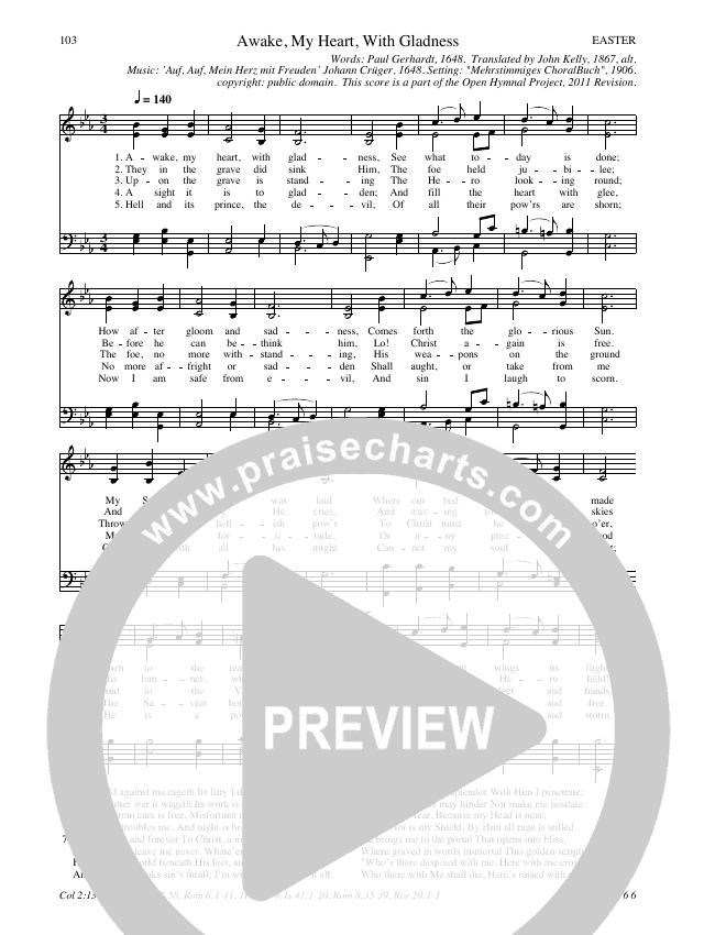 Awake My Heart With Gladness Hymn Sheet (SATB) (Traditional Hymn)