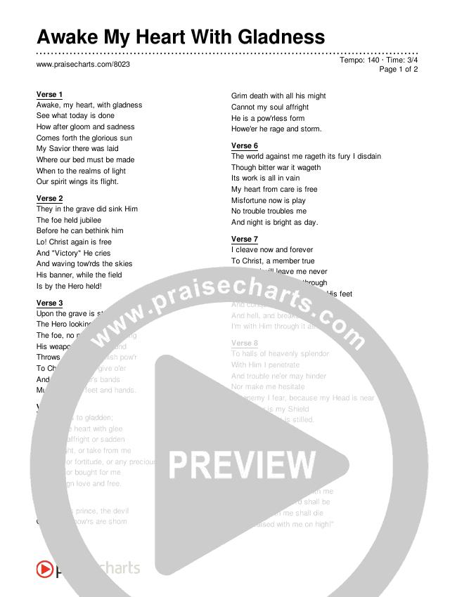 Awake My Heart With Gladness Lyrics (Traditional Hymn)