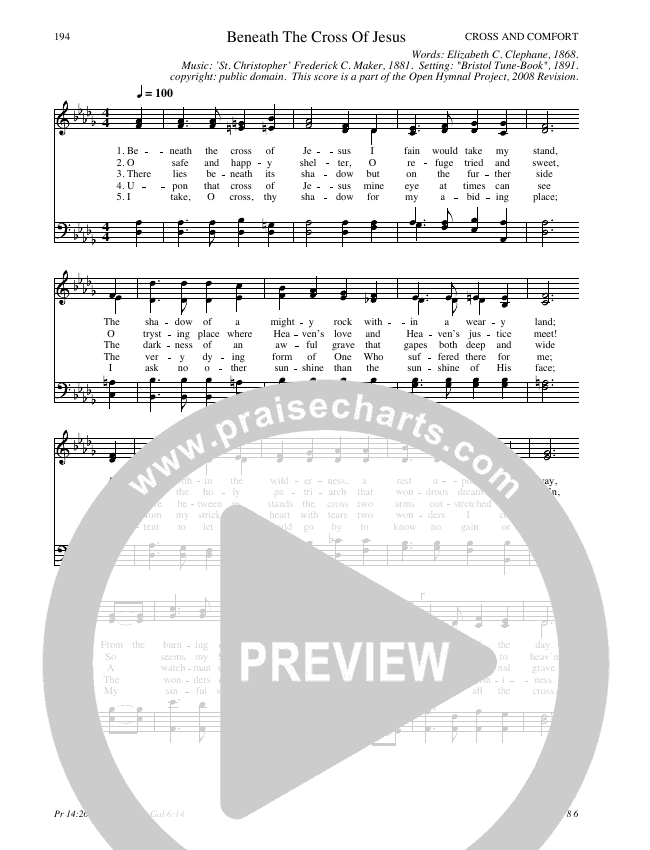 Beneath The Cross Of Jesus Hymn Sheet (SATB) (Traditional Hymn)