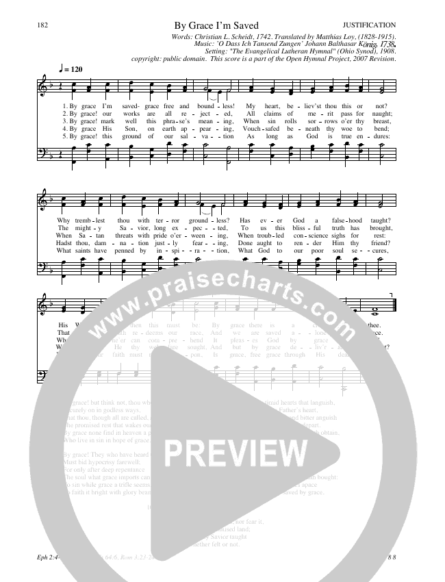 By Grace I'm Saved Hymn Sheet (SATB) (Traditional Hymn)