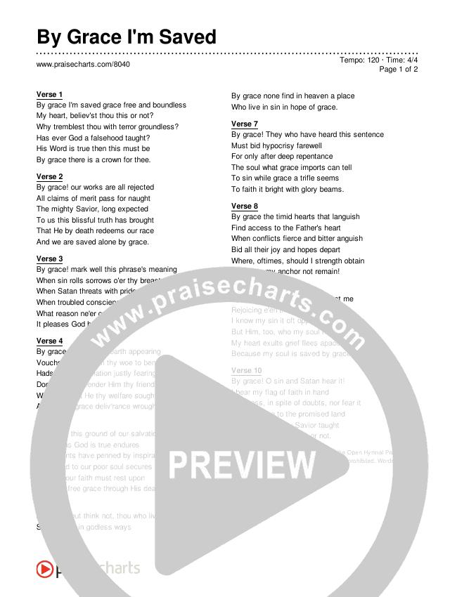 By Grace I'm Saved Lyrics (Traditional Hymn)