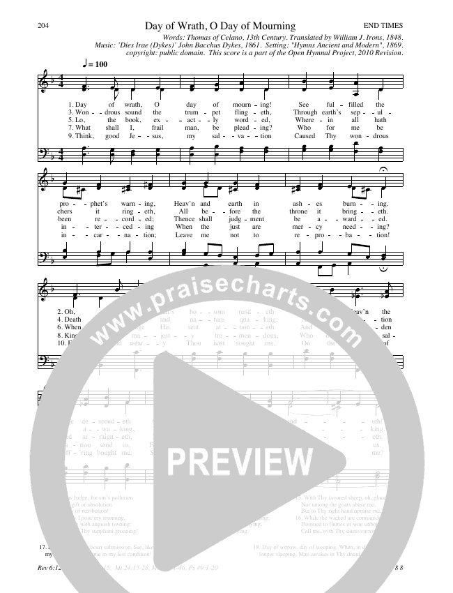 Day of Wrath, O Day of Mourning Hymn Sheet (SATB) (Traditional Hymn)