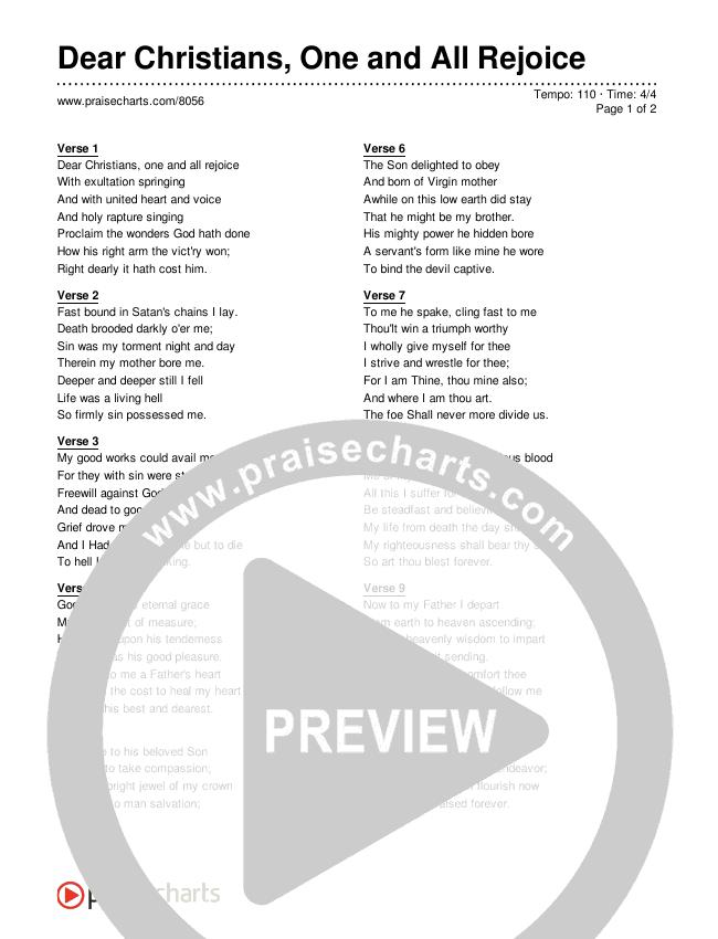 Dear Christians One and All Rejoice Lyrics (Traditional Hymn)