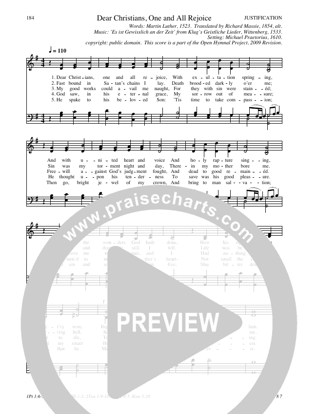 Dear Christians One and All Rejoice Hymn Sheet (SATB) (Traditional Hymn)