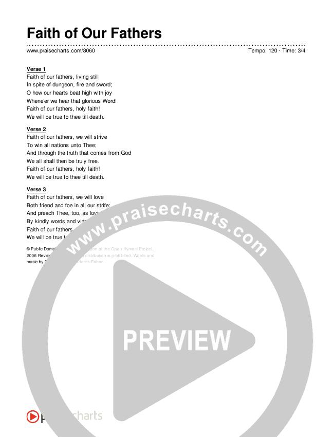 Faith of Our Fathers Lyrics (Traditional Hymn)