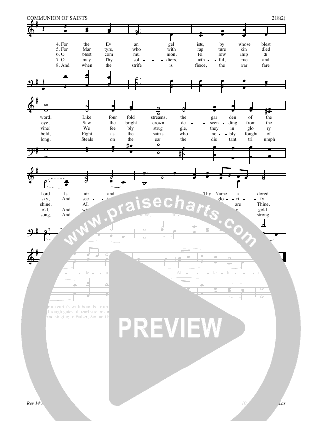 For All The Saints Hymn Sheet (SATB) (Traditional Hymn)
