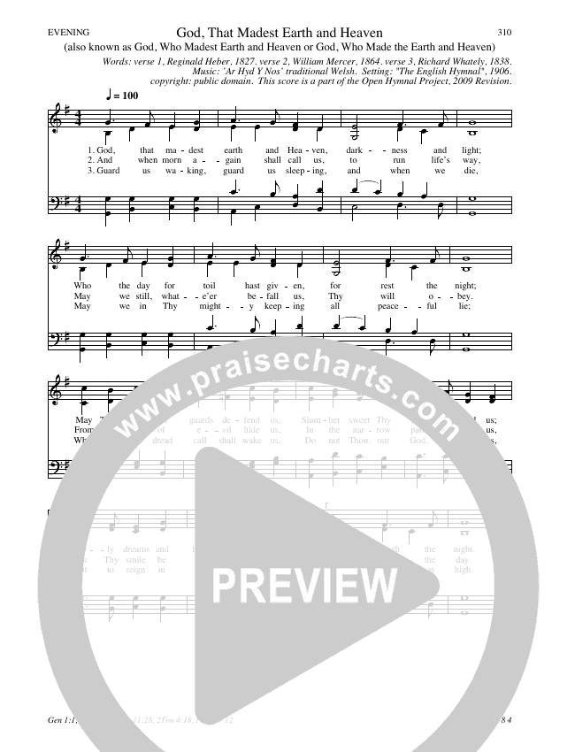God, That Madest Earth and Heaven Hymn Sheet (SATB) (Traditional Hymn)