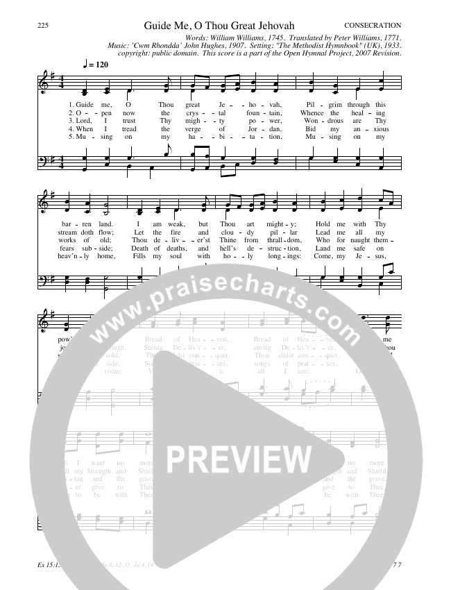 Guide Me, O Thou Great Jehovah Hymn Sheet (SATB) (Traditional Hymn)