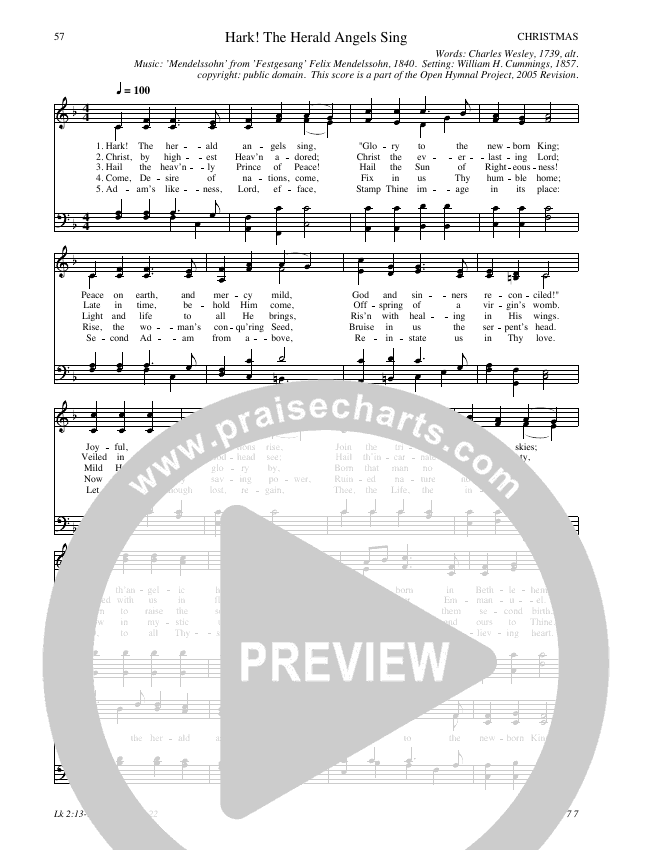Hark The Herald Angels Sing Hymn Sheet (SATB) (Traditional Hymn)