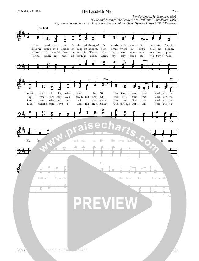 He Leadeth Me Hymn Sheet (SATB) (Traditional Hymn)