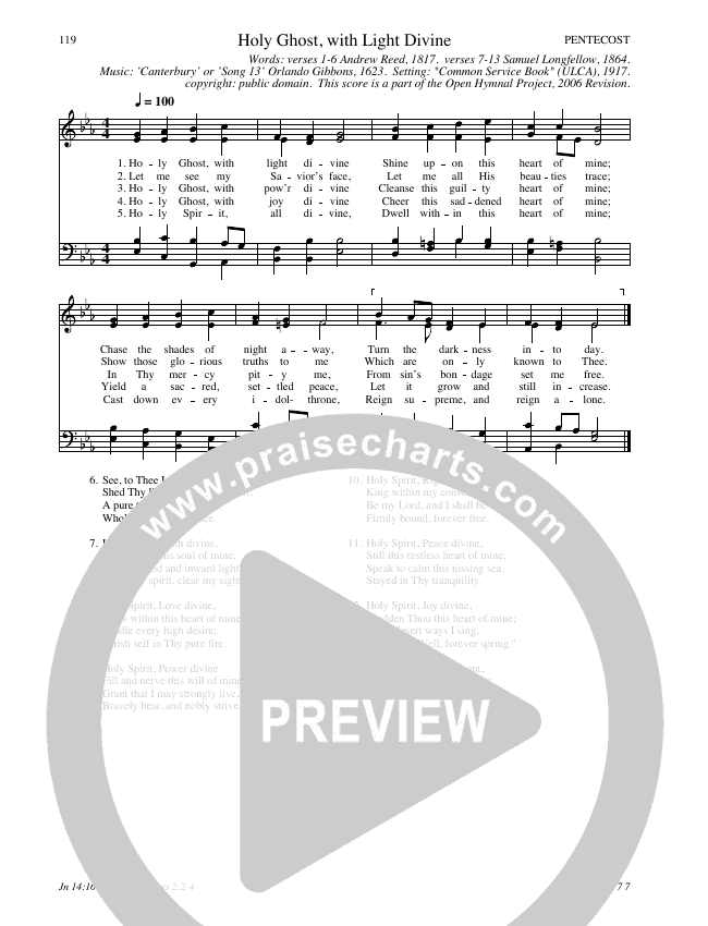 Holy Ghost, with Light Divine Hymn Sheet (SATB) (Traditional Hymn)