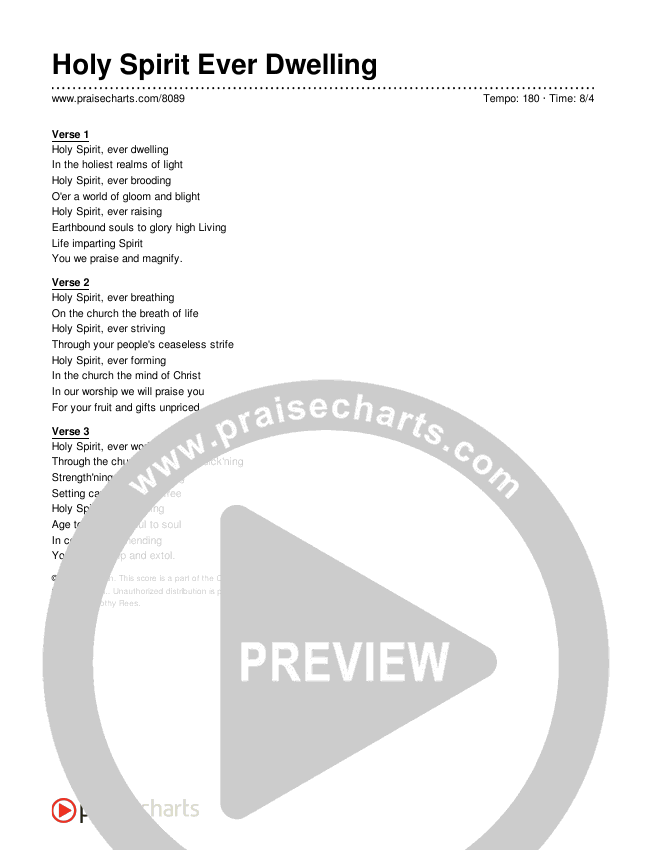 Holy Spirit Ever Dwelling Lyrics (Traditional Hymn)