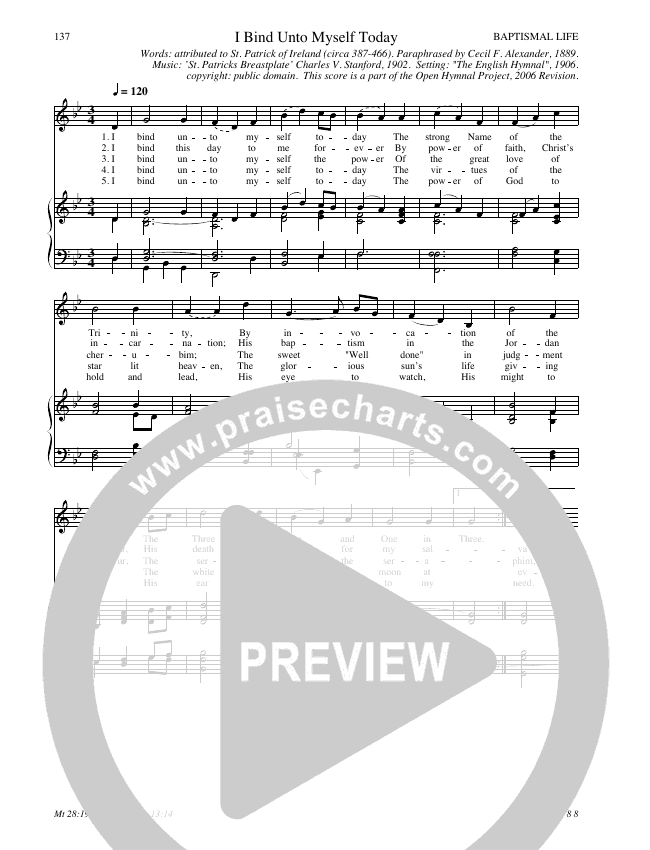 I Bind Unto Myself Today Hymn Sheet (SATB) (Traditional Hymn)