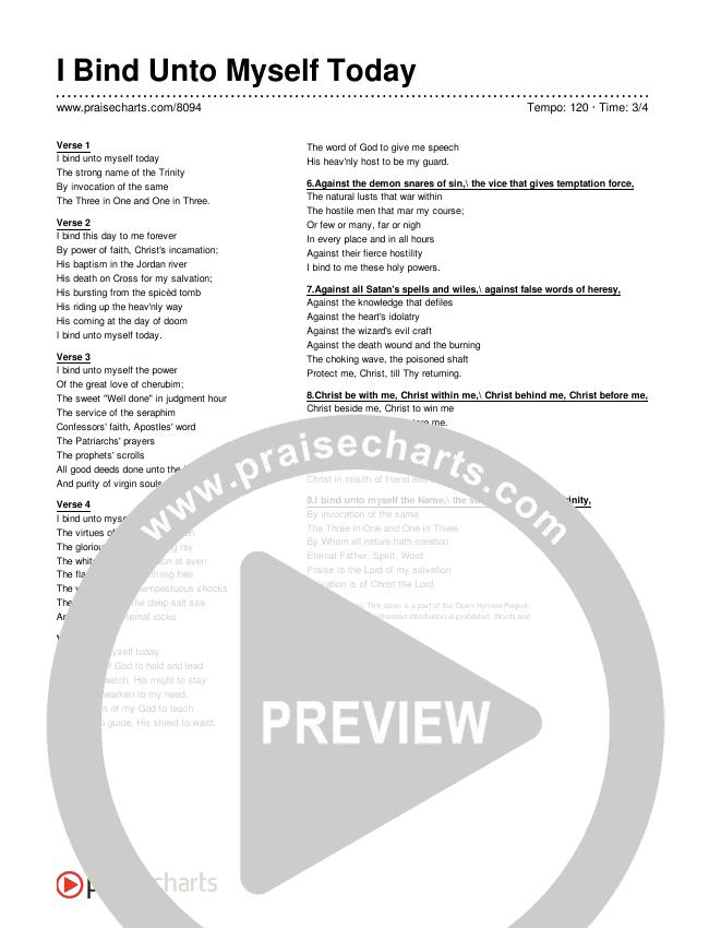 I Bind Unto Myself Today Lyrics (Traditional Hymn)