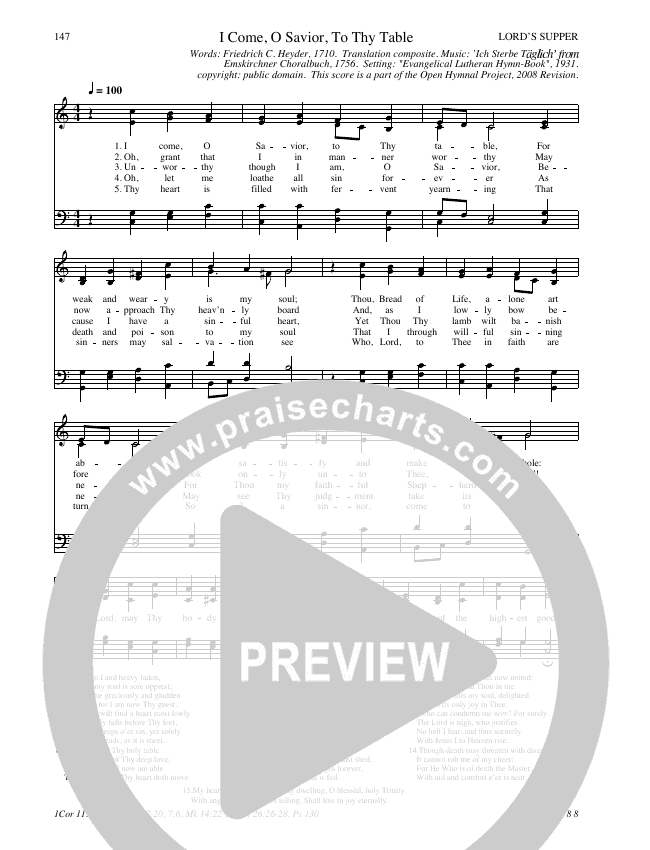 I Come O Savior To Thy Table Hymn Sheet (SATB) (Traditional Hymn)