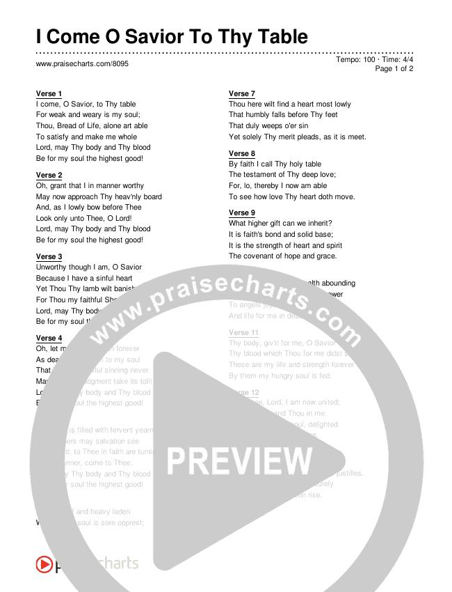 I Come O Savior To Thy Table Lyrics (Traditional Hymn)