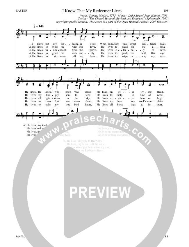 I Know That My Redeemer Lives Hymn Sheet (SATB) (Traditional Hymn)