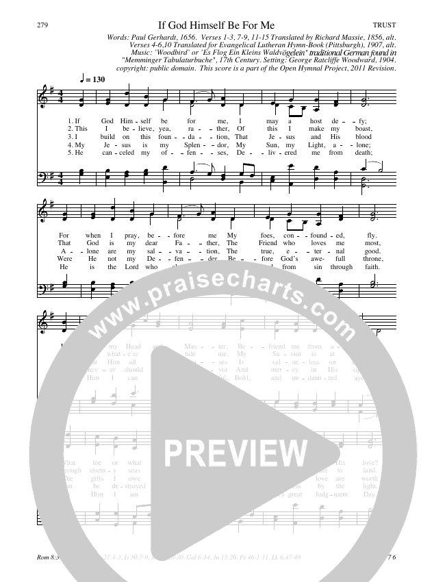 If God Himself Be For Me Hymn Sheet (SATB) (Traditional Hymn)