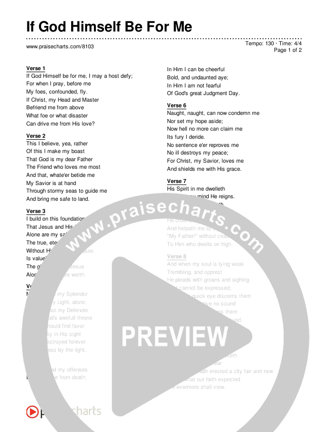 If God Himself Be For Me Lyrics (Traditional Hymn)