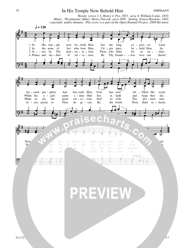 In His Temple Now Behold Him Hymn Sheet (SATB) (Traditional Hymn)