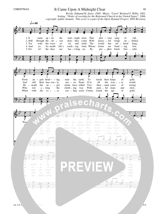 It Came Upon A Midnight Clear Hymn Sheet (SATB) (Traditional Hymn)