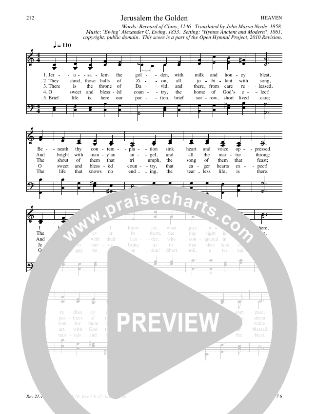 Jerusalem the Golden Hymn Sheet (SATB) (Traditional Hymn)
