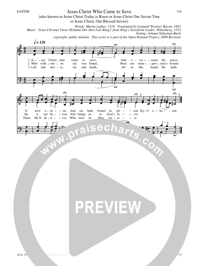 Jesus Christ Who Came to Save Hymn Sheet (SATB) (Traditional Hymn)