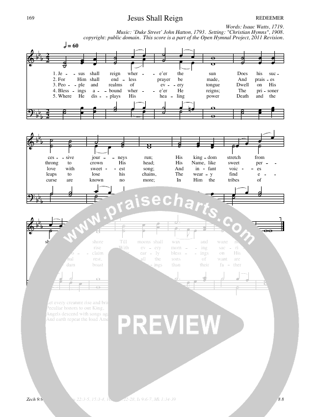 Jesus Shall Reign Hymn Sheet (SATB) (Traditional Hymn)