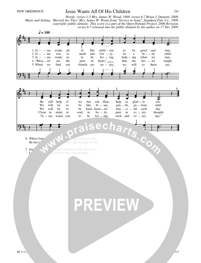 Jesus Wants All Of His Children Hymn Sheet (SATB) (Traditional Hymn)