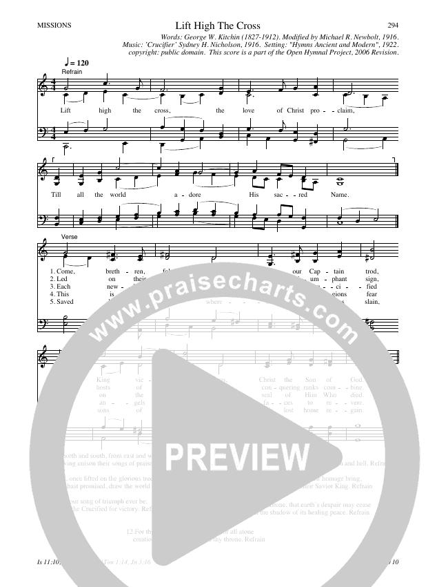 Lift High The Cross Hymn Sheet (SATB) (Traditional Hymn)