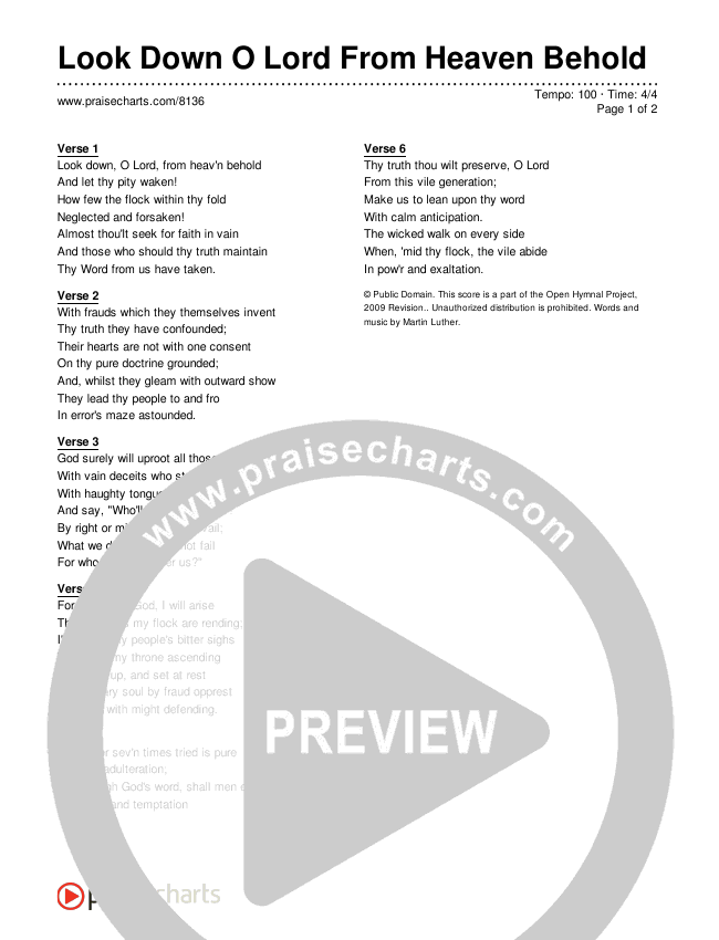 Look Down O Lord From Heaven Behold Lyrics (Traditional Hymn)