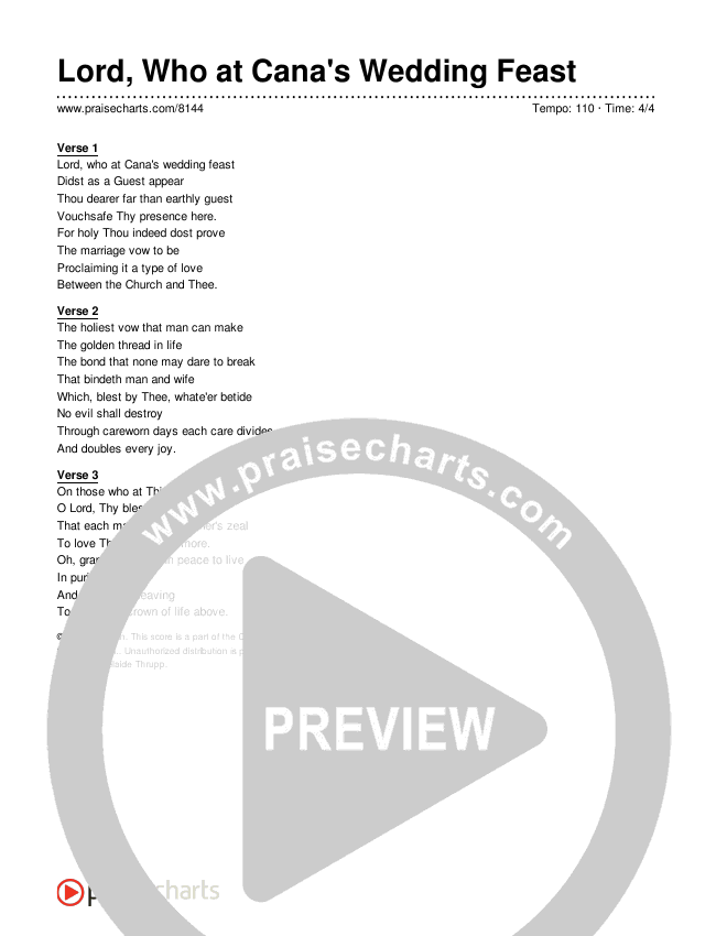 Lord, Who at Cana's Wedding Feast Lyrics (Traditional Hymn)