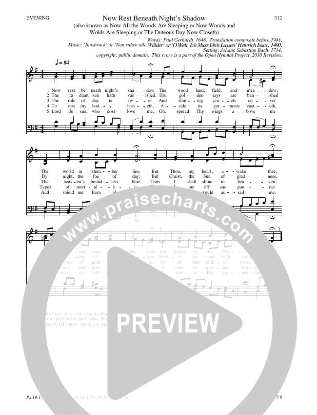 Now Rest Beneath Night's Shadow Hymn Sheet (SATB) (Traditional Hymn)