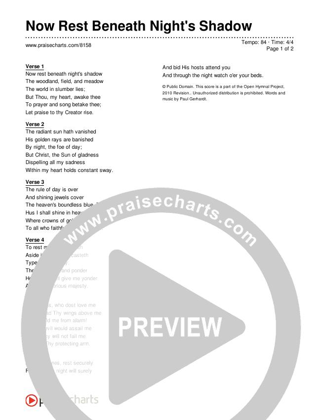 Now Rest Beneath Night's Shadow Lyrics (Traditional Hymn)