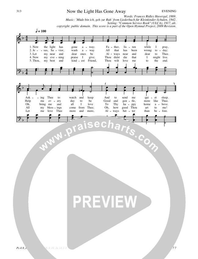 Now the Light Has Gone Away Hymn Sheet (SATB) (Traditional Hymn)