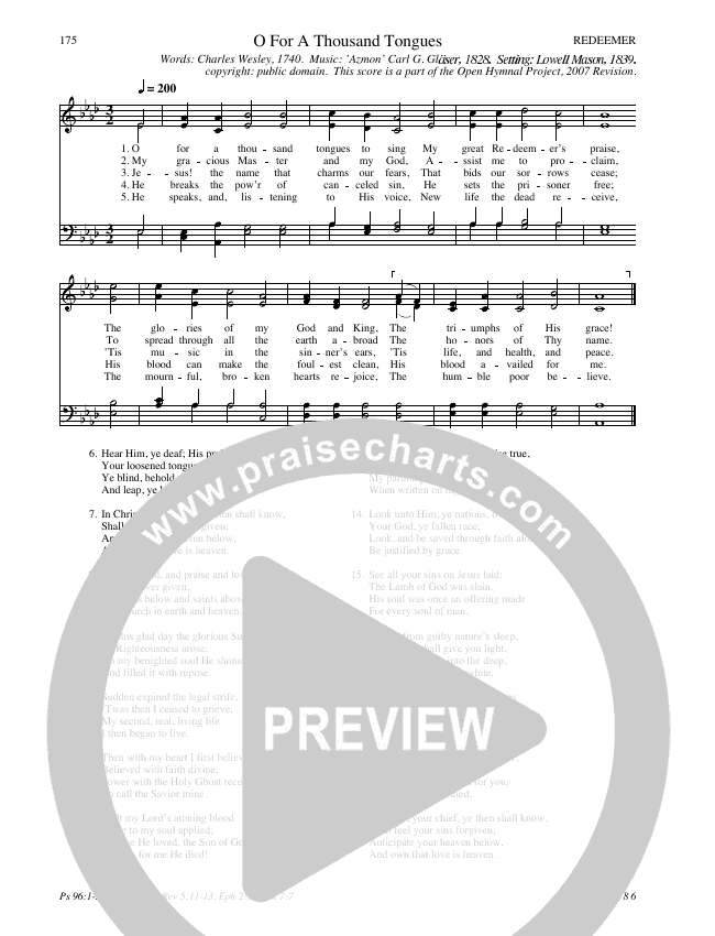O For A Thousand Tongues Hymn Sheet (SATB) (Traditional Hymn)