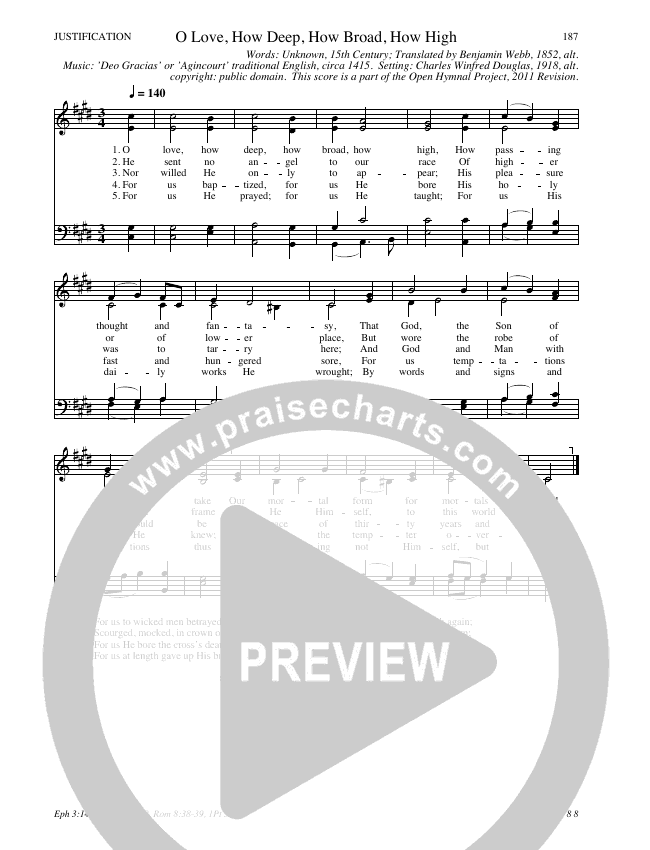 O Love How Deep How Broad How High Hymn Sheet (SATB) (Traditional Hymn)
