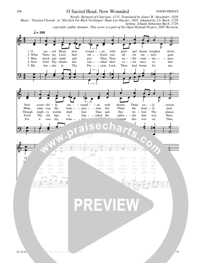 O Sacred Head, Now Wounded Hymn Sheet (SATB) (Traditional Hymn)