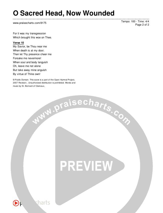 O Sacred Head, Now Wounded Lyrics (Traditional Hymn)